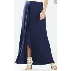 BCBGMaxAzria Skirts - NWT BCBG Logan Ruffle Maxi Skirt Black Front Slit